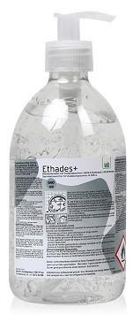 Ethades Plus handdesinfectie gel, 500ml met pompje, toelating 14694 N