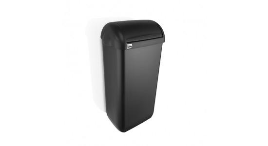 Dames hygiëne box kleur zwart, inhoud 23 liter inclusief wandbeugel