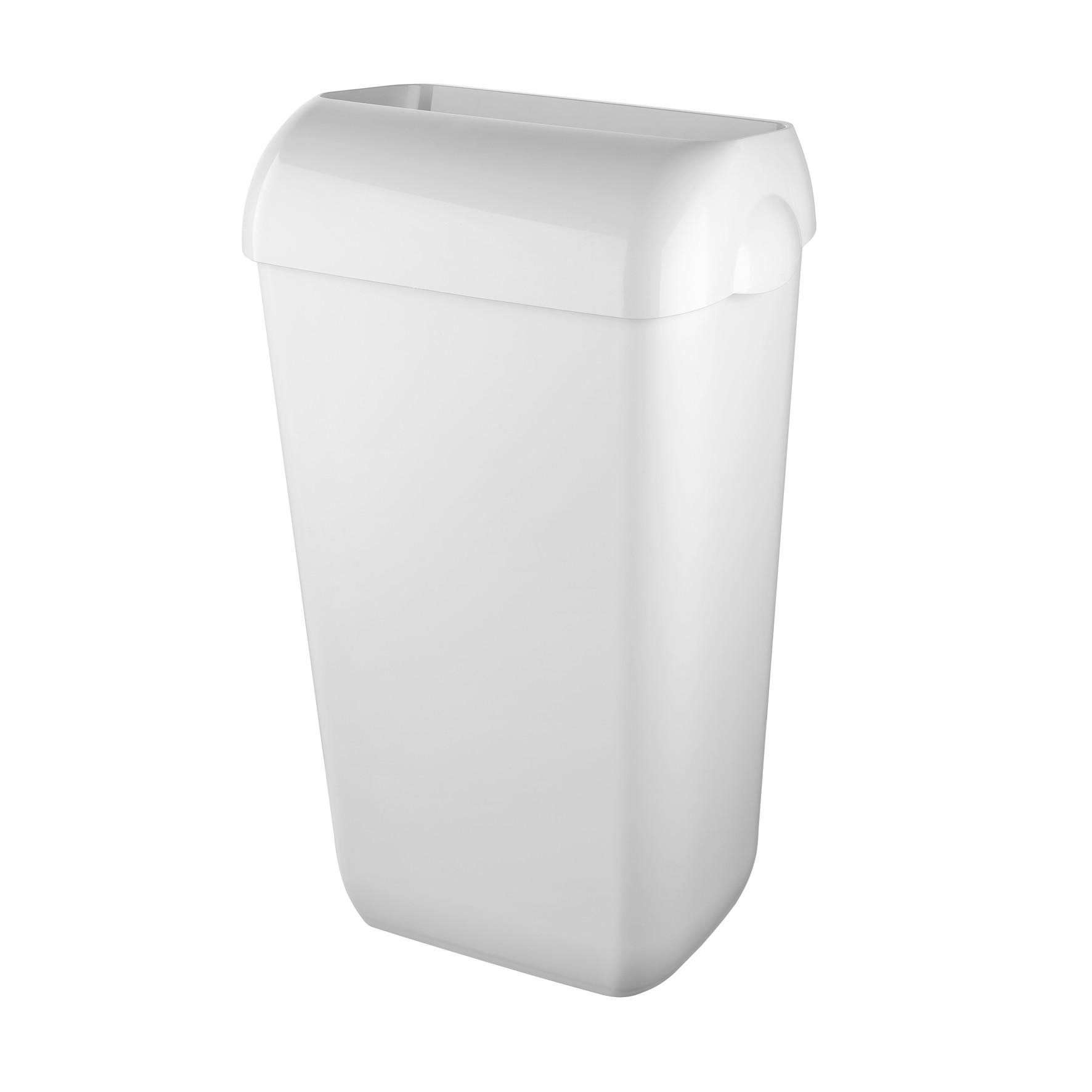 Prestige ABS kunststof afvalbak kleur: wit incl. wandbeugel en 'hidden' deksel, inhoud 23 liter