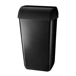 Pearl ABS kunststof afvalbak kleur: zwart, incl. wandbeugel en 'hidden' deksel, inhoud 23 liter