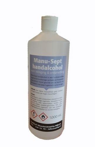Alcohol manu-sept 1 liter, t.b.v. desinfectiezuil OASE