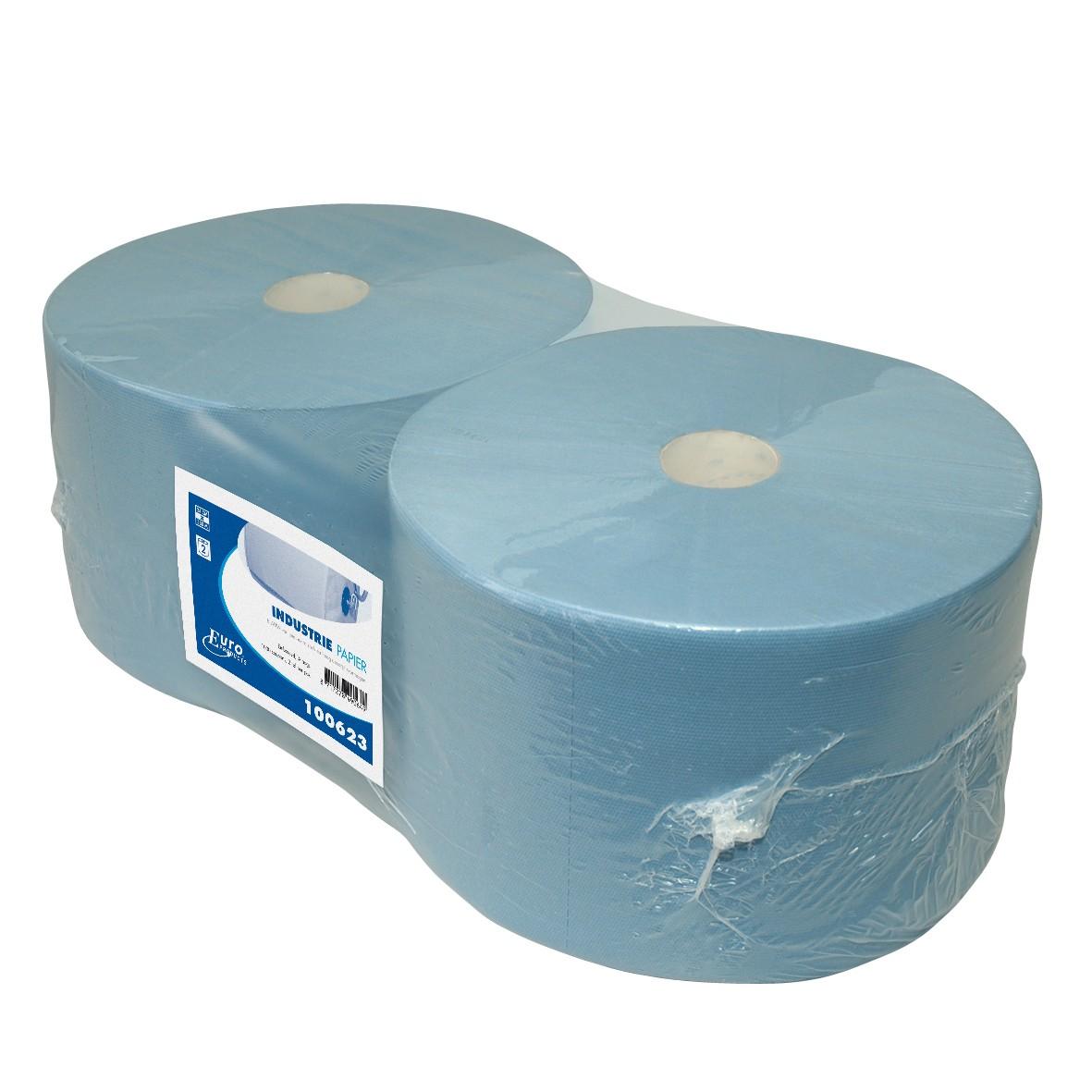Industrie poetsrol 1000 meter x 23 cm.1-laags blauw, inhoud 2 rollen