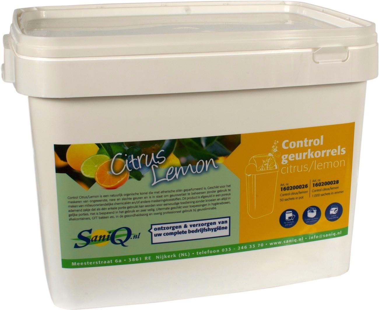 CONTROL sachet geurkorrels Citrus/Lemon, emmer inhoud 1000 st.