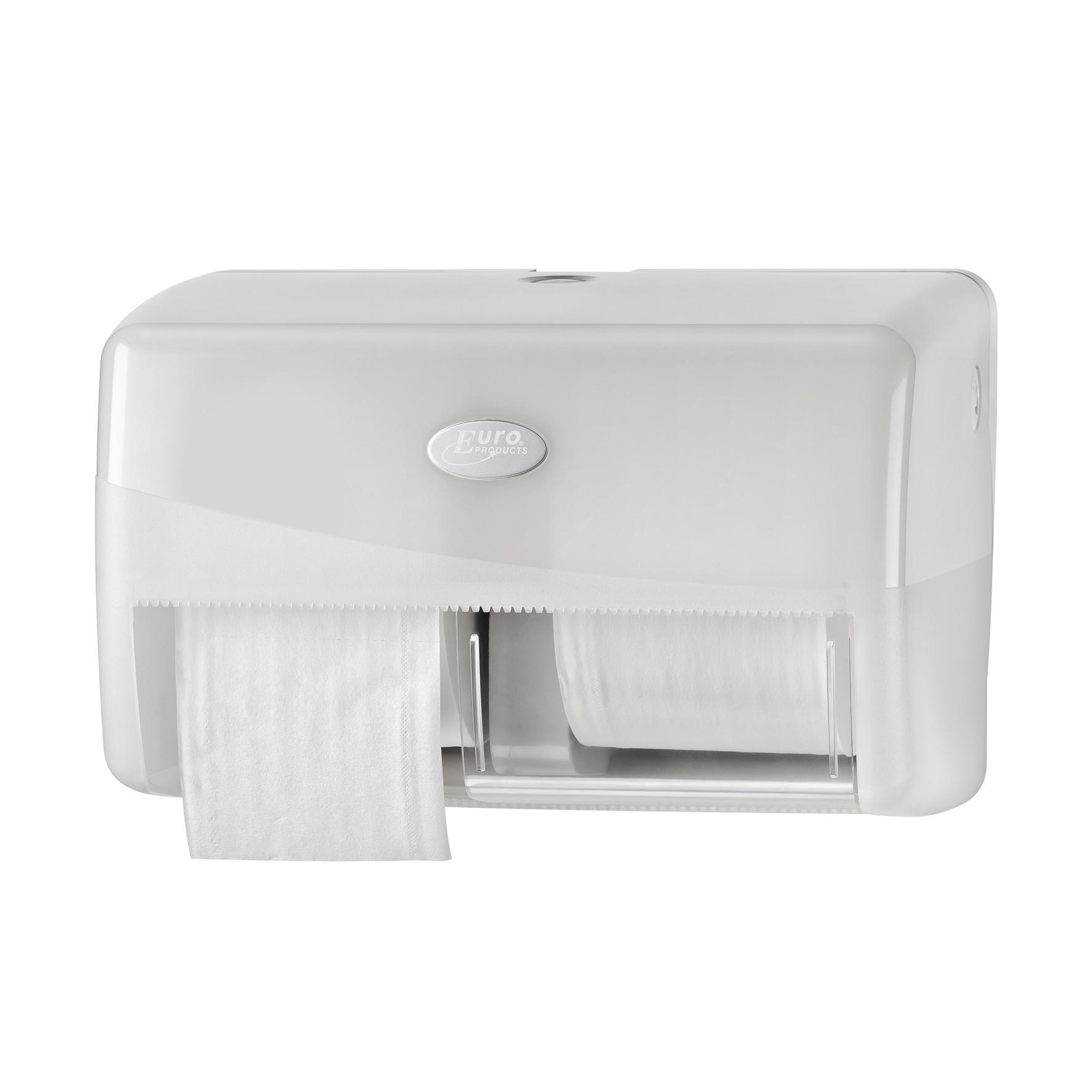 Pearl WHITE duo toiletrolhouder, geschikt voor 2 rollen