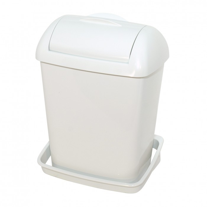Dames hygiëne box kleur WIT, ABS kunststof, inhoud 8 liter compleet met wandbeugel