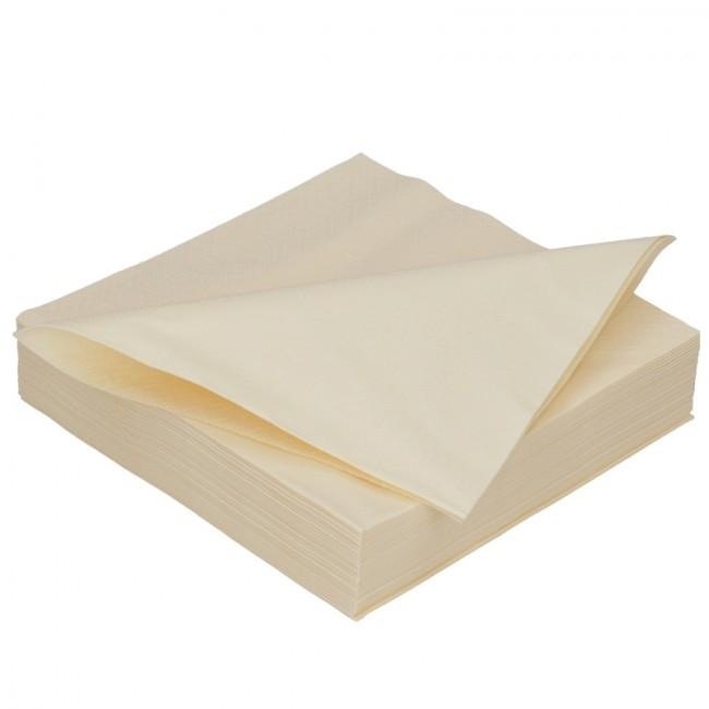 Duni servet Uni 40 x 40 cm, 2-laags  CREME,  inhoud 10 x 125