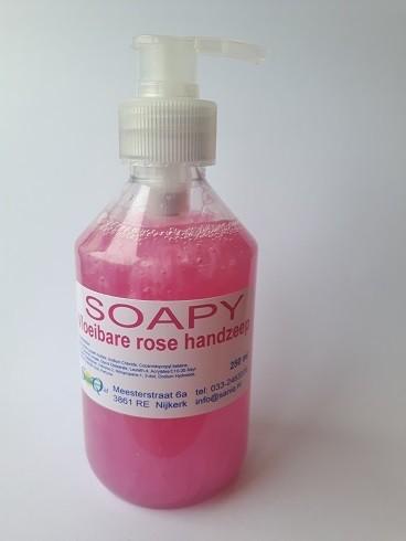 Soapy zeepcrème rose handzeep, 250 ml.