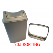 Prestige ABS kunststof afvalbak kleur Satinato (rvs look) incl. wandbeugel en swing deksel, inhoud 8 liter